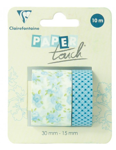 Masking tape Clairefontaine - Fleurs bleues - 2 rouleaux