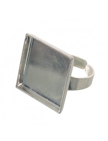 Support bague cabochon - Bague carrée argent 20mm