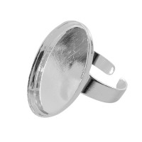 Support bague cabochon - Bague ovale argent 25mm