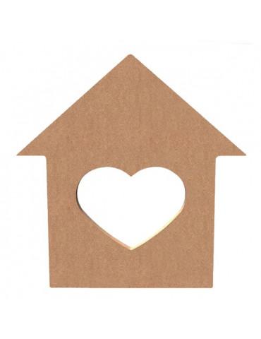 Gomille - Support bois Maison coeur - 15 cm