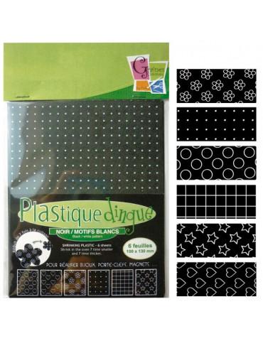 Plastique dingue noir motifs blancs - 6 feuilles petit format