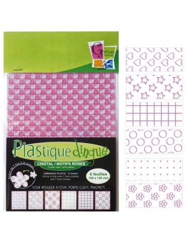 Plastique dingue motifs rose - 6 feuilles petit format