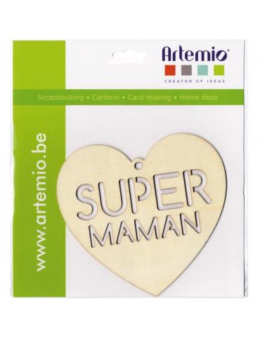 Silhouette bois Coeur Super Maman - Artemio