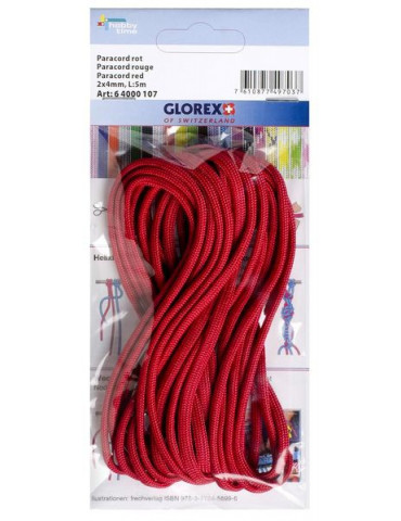 Paracorde 2x4mm, 5m rouge - Glorex