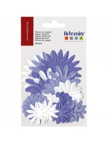 Fleurs papier assorties bleu x24