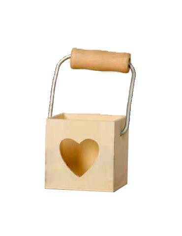 Panier coeur bois à décorer