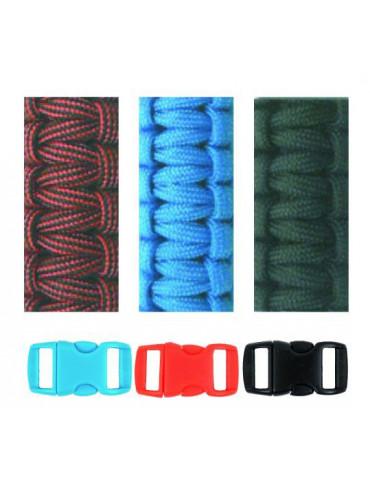 Kit bracelets Paracorde Noir Bleu Rouge 2mm  - Glorex