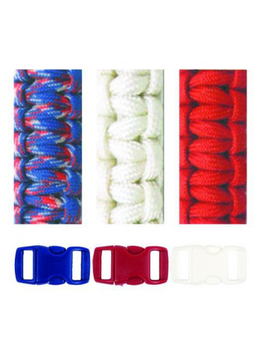 Kit bracelets Paracorde Blanc Rouge Bleu 2mm  - Glorex