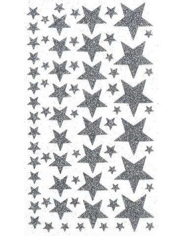 Stickers Artemio - Etoiles argent pailletés x76