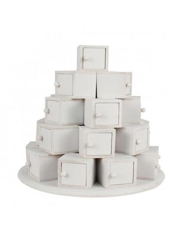 Calendrier de l'avent - Pyramide cubes blanc