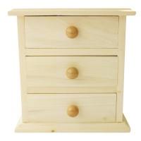 Meuble miniature en bois 3 tiroirs - 16x9x14cm - Graines créatives