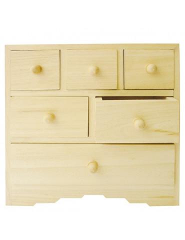Meuble miniature - Commode bois 6 tiroirs - 20x10x20cm
