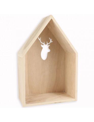 Etagère maison découpe cerf 23cm