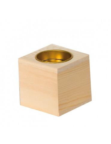 Bougeoir cube 6cm en bois