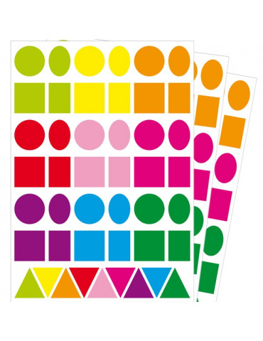 Maxi gommettes x126 - Formes géométriques - Couleurs vives