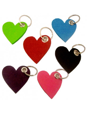 Porte-clé coeur en feutrine 3mm x10