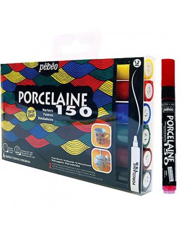 Pébéo Porcelaine 150 - Etui 6 feutres Contemporain - Pointe normale