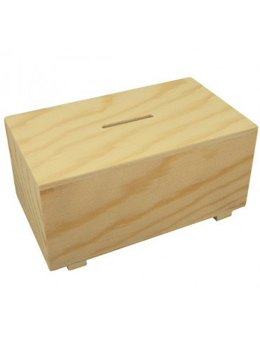 Tirelire en bois rectangulaire