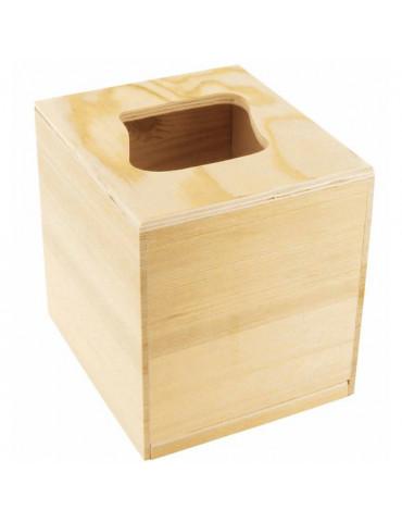 Boite mouchoirs bois carrée - Ouverture vague