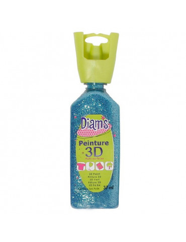 Peinture DIAM'S 3D pailletée aquamarine