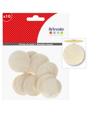 Perles en bois - Plates rondes 40mm x10
