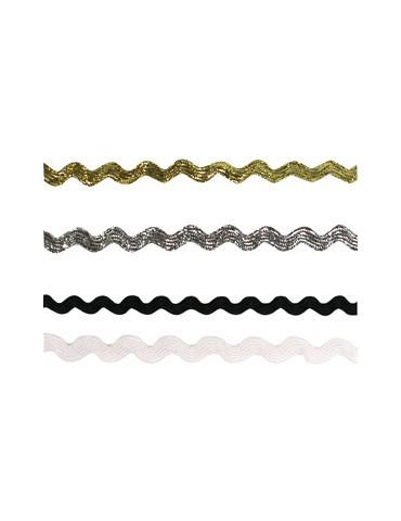 Rubans croquet métalisés or, argent, blanc noir 5mm - 4x 1m