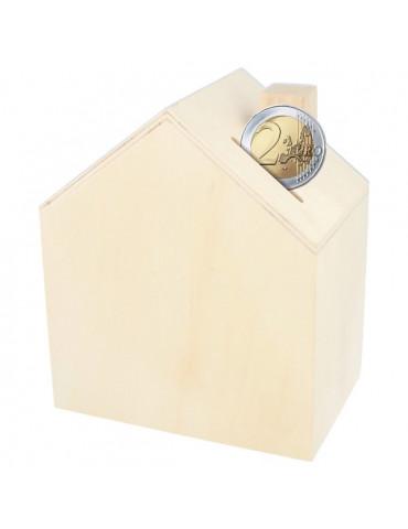 Tirelire maison en bois - 12x14,5 cm