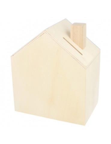 Tirelire maison en bois -...