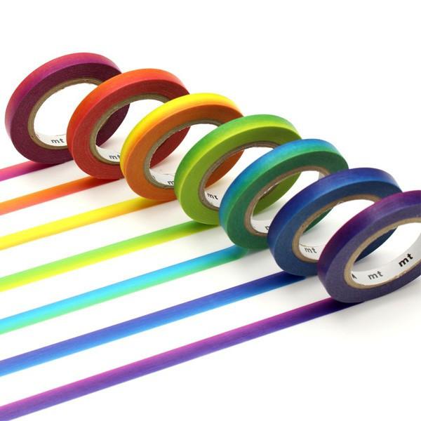 Masking tape slim - Arc en ciel 6mm x7- MT