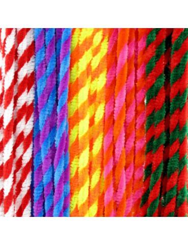 Fils chenille à rayures bicolore (Twist) 6mm x50