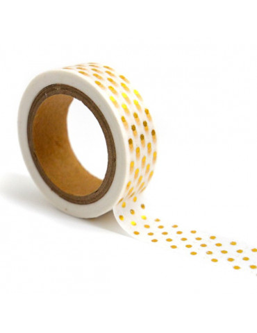 Masking tape - Blanc à pois or 15mm x10m - Toga
