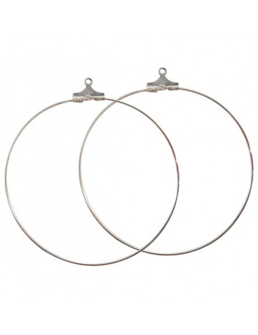 Boucles d'oreilles Créoles Argent - 50mm - 2 paires