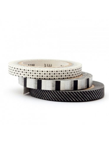 Masking tape slim x3 - Déco Noir & Blanc 6mm x10m