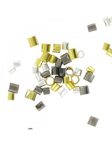 Perles à écraser Tubes 1,5 & 2mm - Argent, Or, noir - 180 pièces