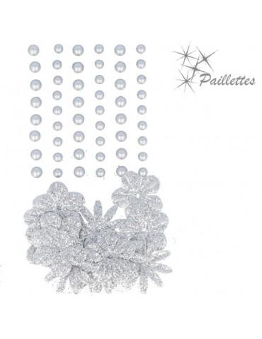 Fleurs papier pailletées + perles nacrées - Argent