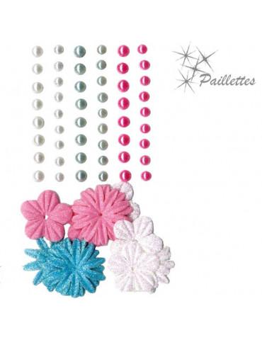Fleurs papier pailletées + perles nacrées - Fashion
