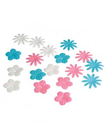 Fleurs papier pailletées +...