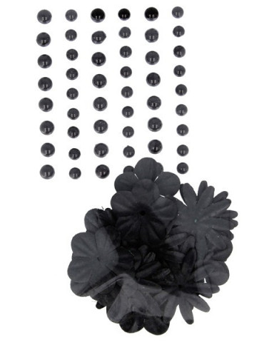 Fleurs papier + perles nacrées - Noir