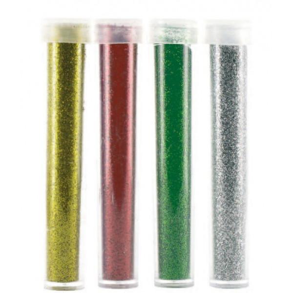 Paillettes diamantines - Or-Argent-Rouge-Vert - 4x 3,5g