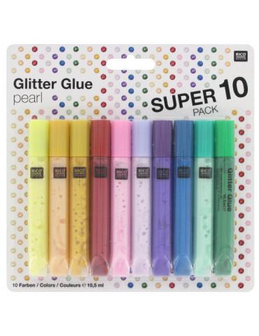 Glitter Glue Pearl 10,5ml x10 - Rico Design