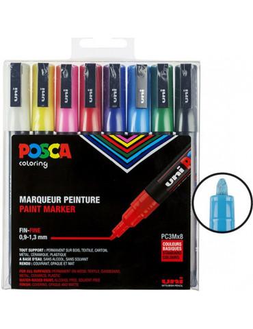 Posca - Boite 8 marqueurs PC3M - Pointe fine 1,5mm