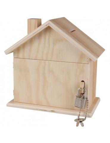 Tirelire bois maison avec cadenas + clés - 15cm