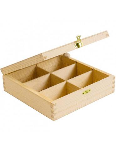 Boite à thé carrée en bois à décorer - 6 compartiments - 21cm