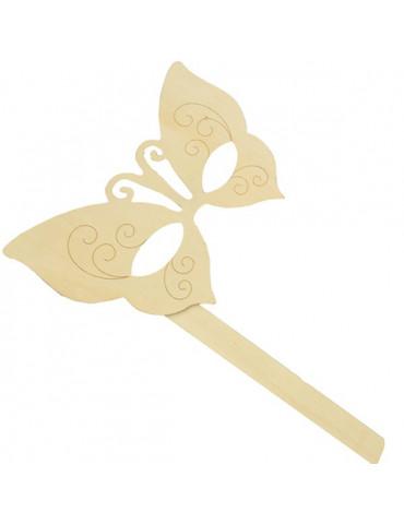 Masque papillon en bois -...