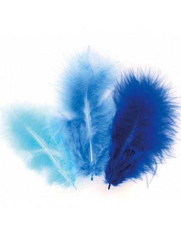 Plumes Marabout - Camaïeu bleu x50