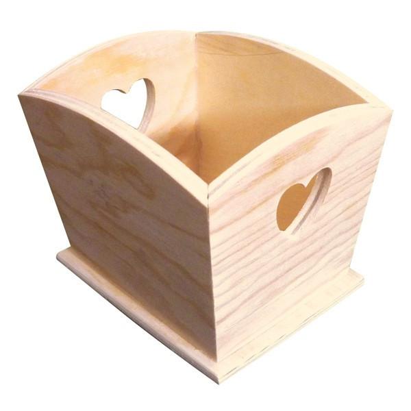 Pot en bois à décorer coeur 12x10cm