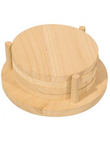 Dessous verre en bois rond avec support x4
