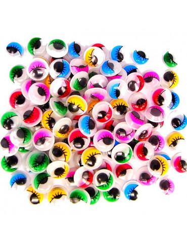Yeux mobiles couleur avec cils adhésifs 10mm x100
