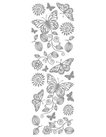 Transferts pour bougie argent  - Papillons