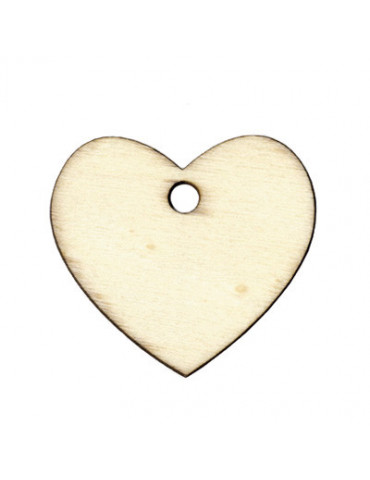 Set 6 étiquettes bois Coeur...